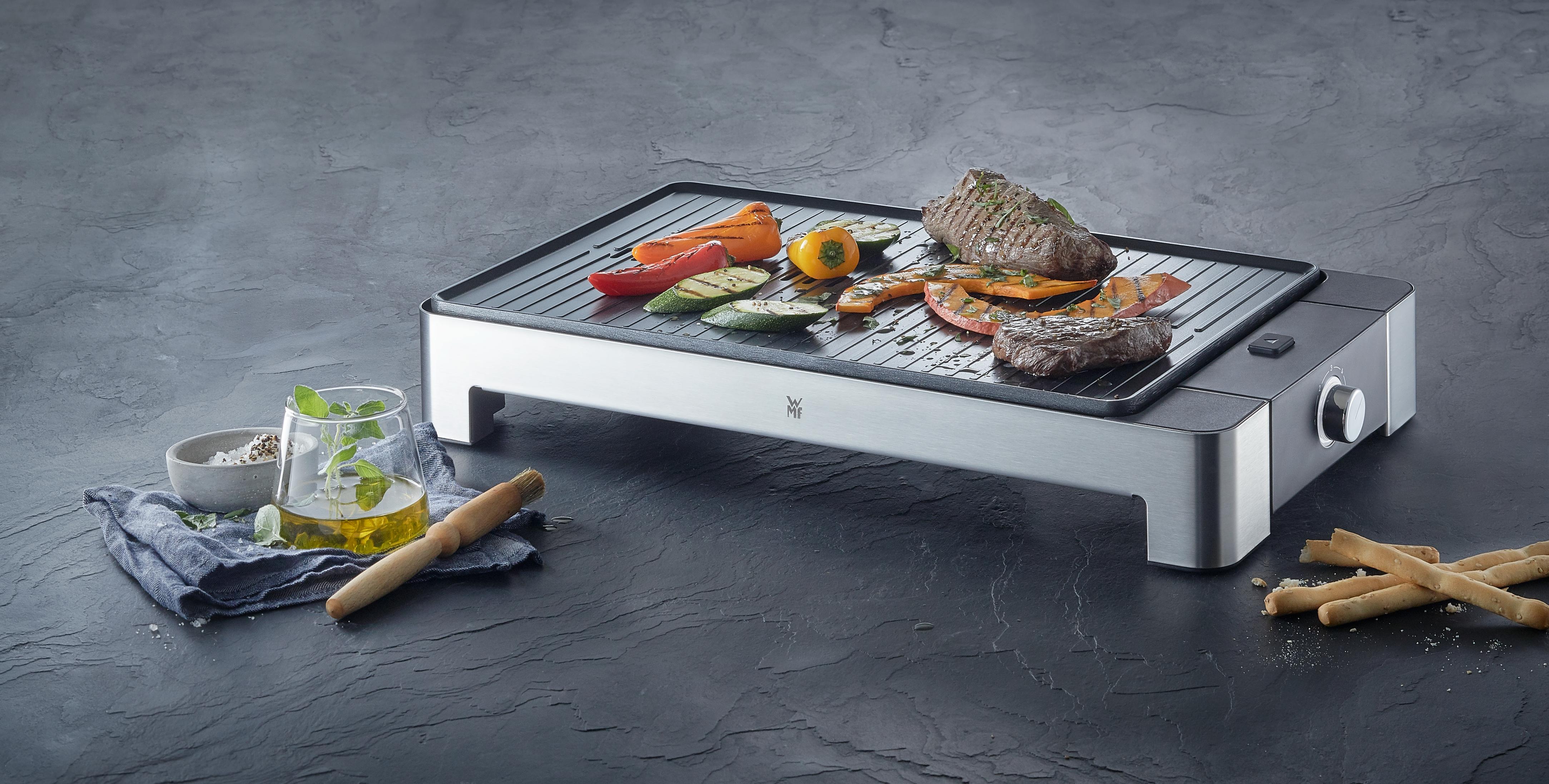 Tırtıklı ızgara alanına sahip güçlü masaüstü ızgara.
