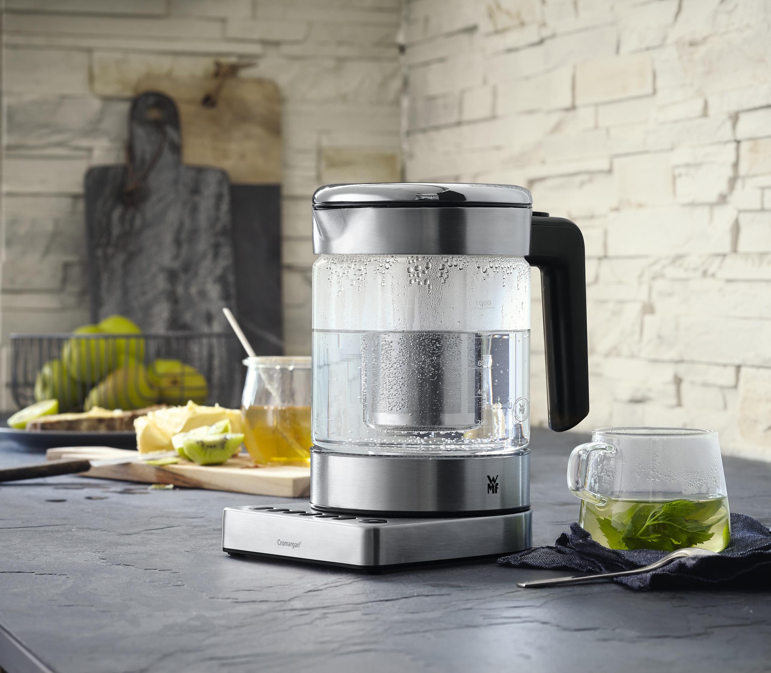Entegre çay demleme işlevli kompakt cam su ısıtıcı
